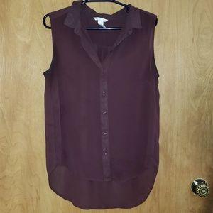 Sleeveless sheer wine blouse